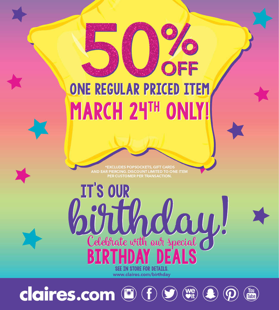 50% Off Claire's Birthday Deals