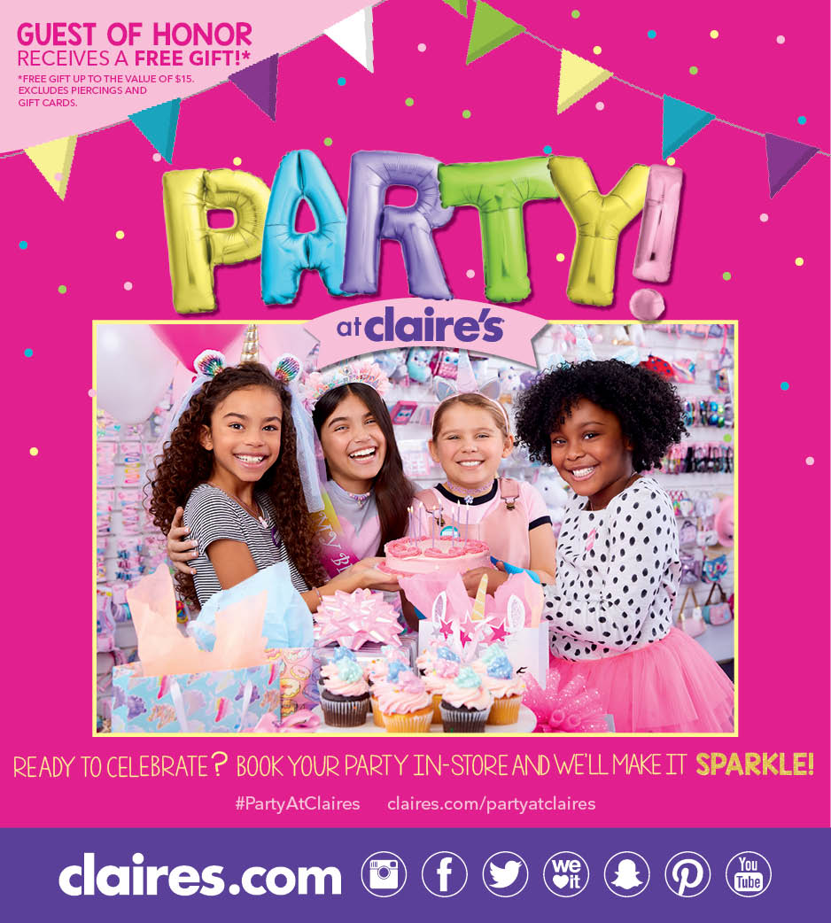 Have a Party at Claire's!